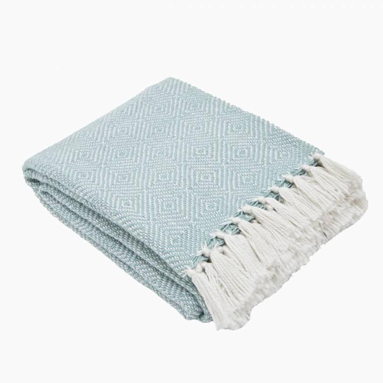 Teal Azure Diamond Blanket From Recycled Bottles