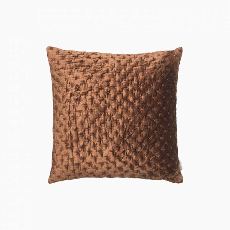 Square Velvet Embroidered Cushion - Mahogany