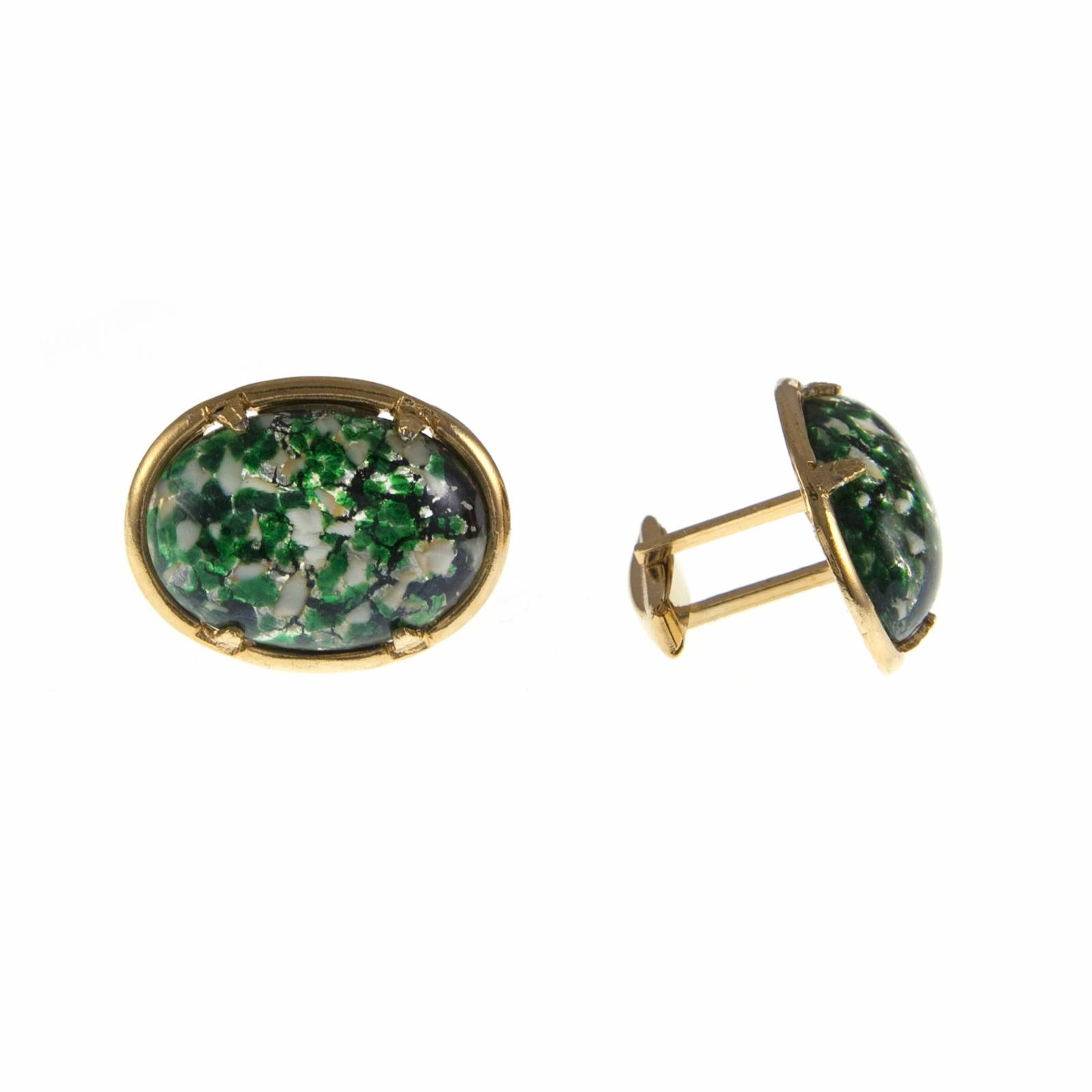 Vintage 1950s Oval Green Mottled Glass  Cufflinks