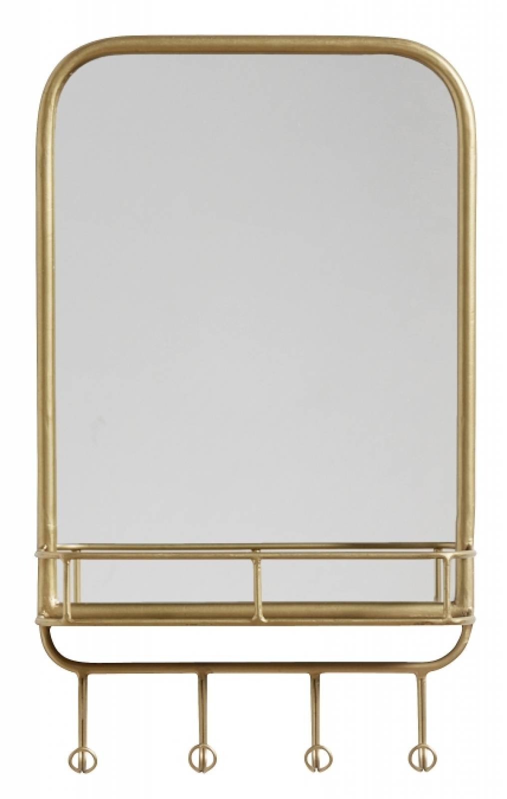 Gold Mirror With Hooks