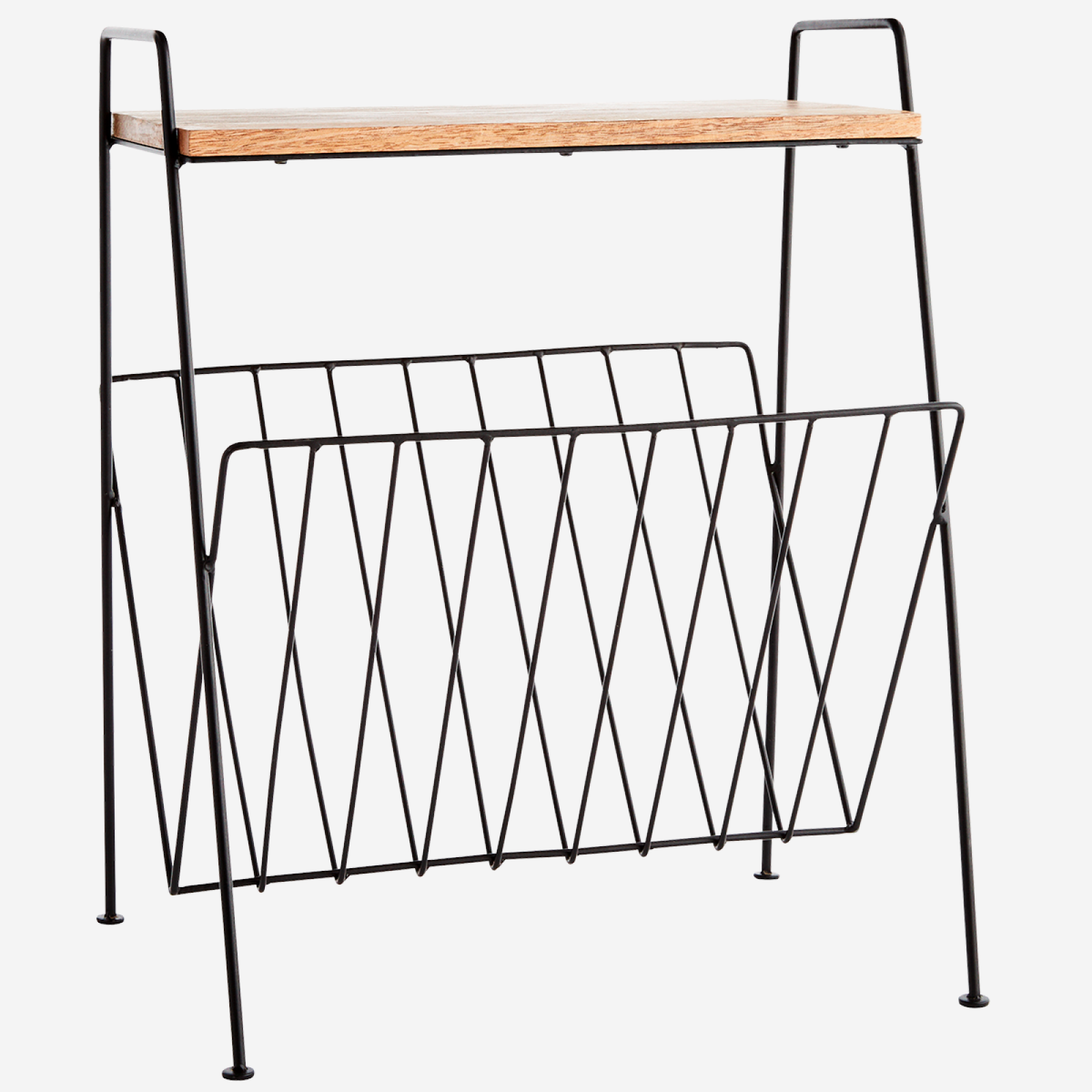 Black Wire Magazine Rack With Wood Shelf