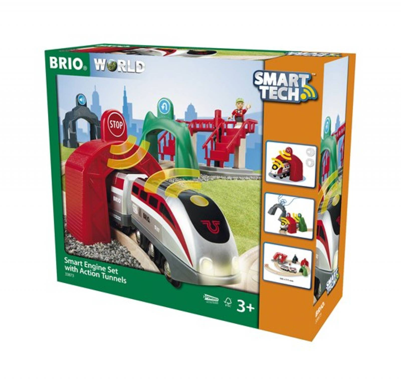 Smart Tech Engine Set + Action Tunnels BRIO Wooden Railway 3+