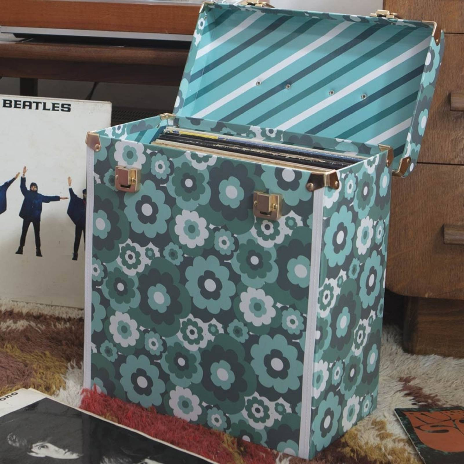 Record Box Suitcase In Bloom Pattern thumbnails