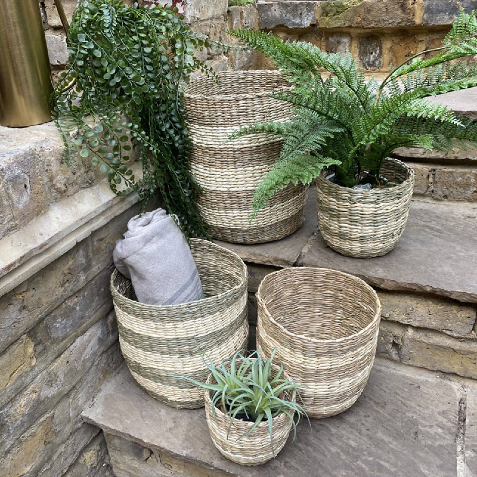 Small Striped Two Tone Striped Basket H:16cm thumbnails