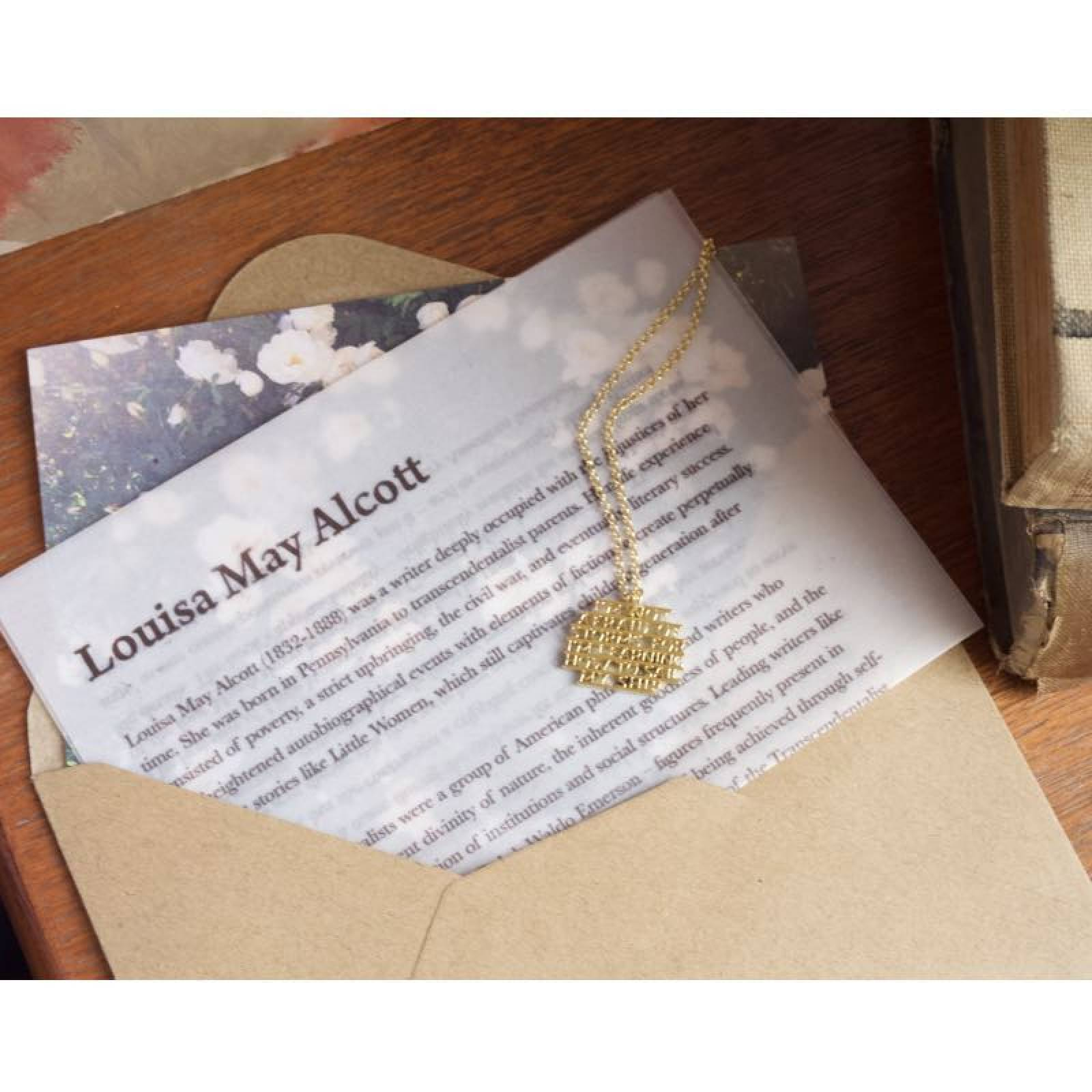 Louisa May Alcott - Storms Gold Quote Necklace By Ordbord thumbnails