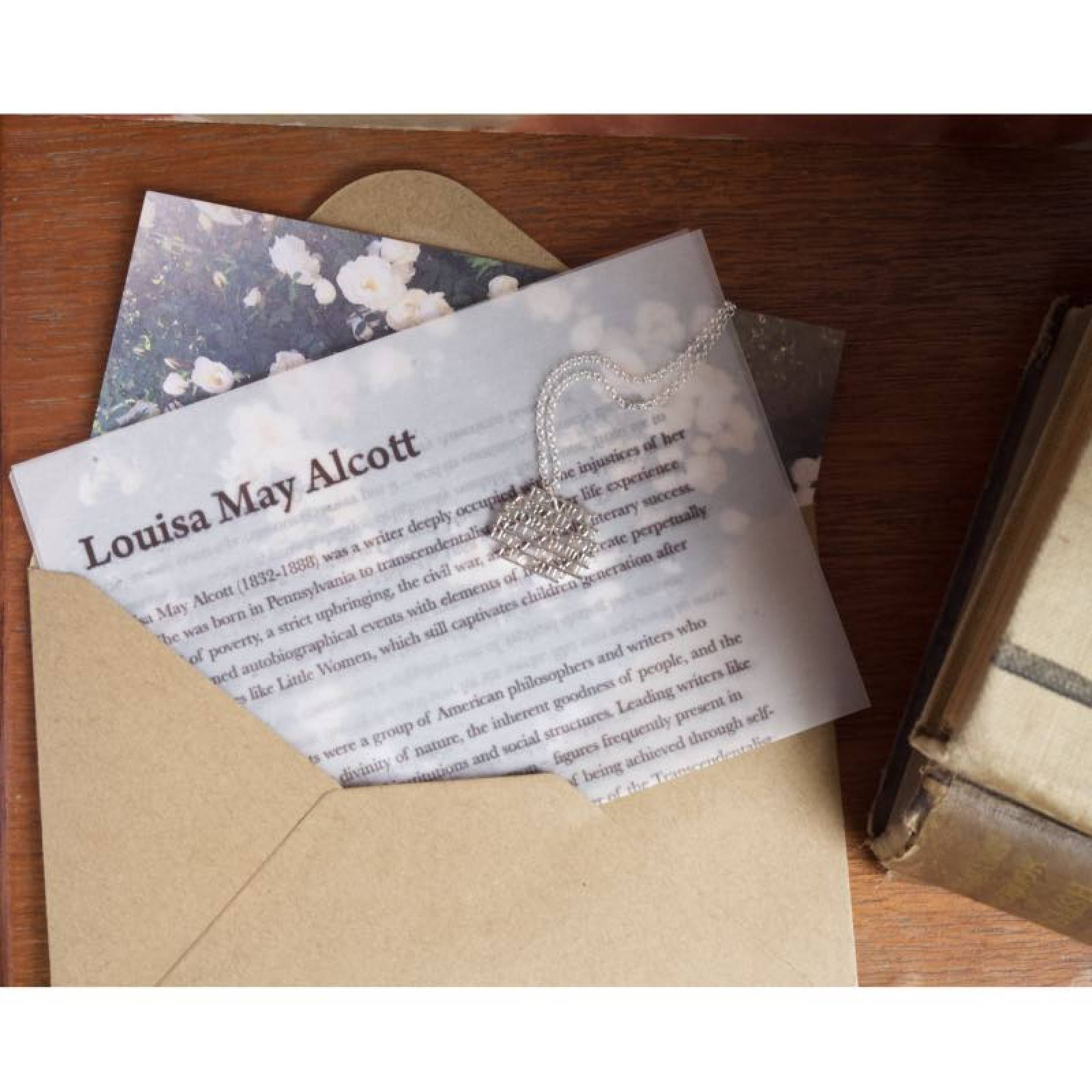 Louisa May Alcott - Storms Silver Quote Necklace By Ordbord thumbnails