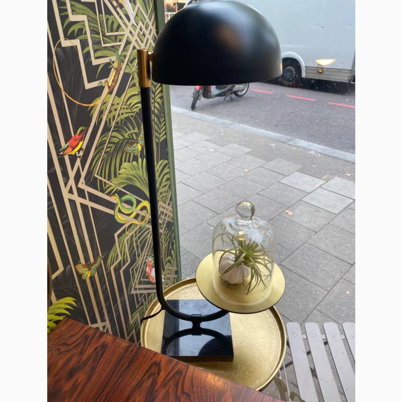Black Metal Table Lamp With Gold Tray thumbnails