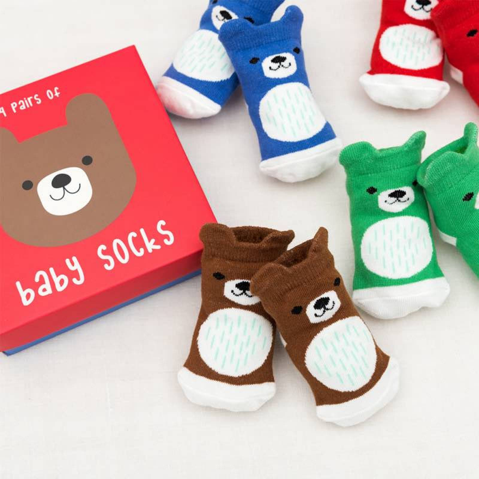 Bear Baby Socks Boxed Set of 4 Pairs