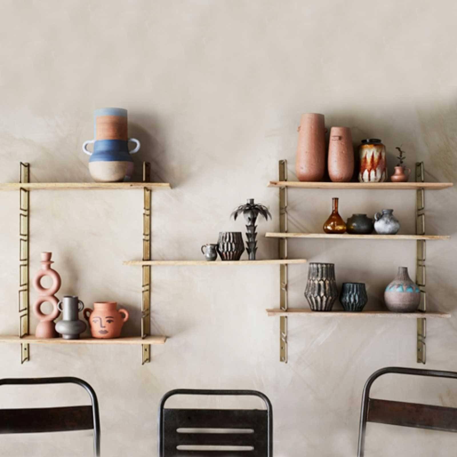 Brass Shelving Unit With 3 Adjustable Wooden Shelves