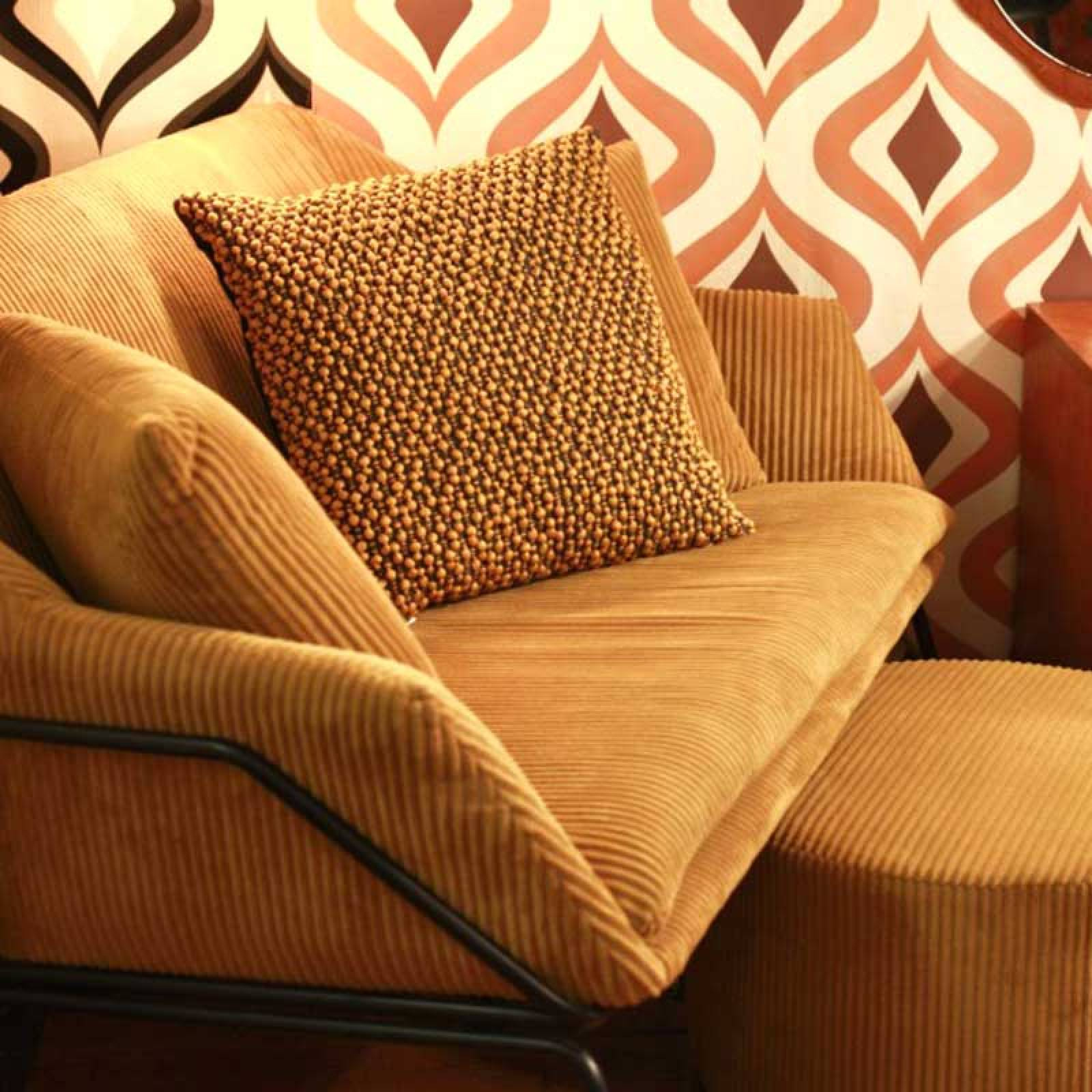 Corduroy Sofa - Caramel Brown With Black Frame thumbnails
