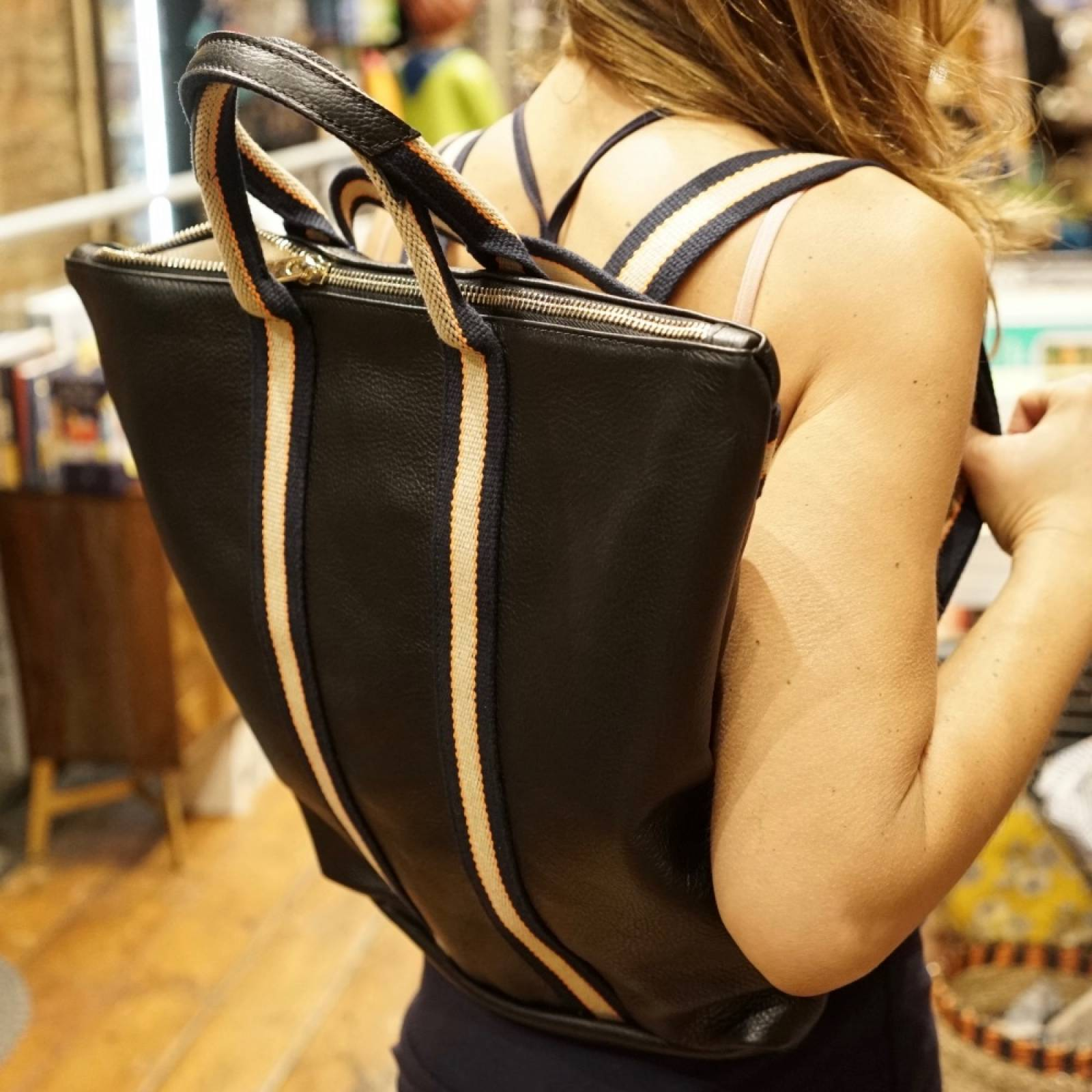 Leather Backpack With Canvas Straps And Handle In Black