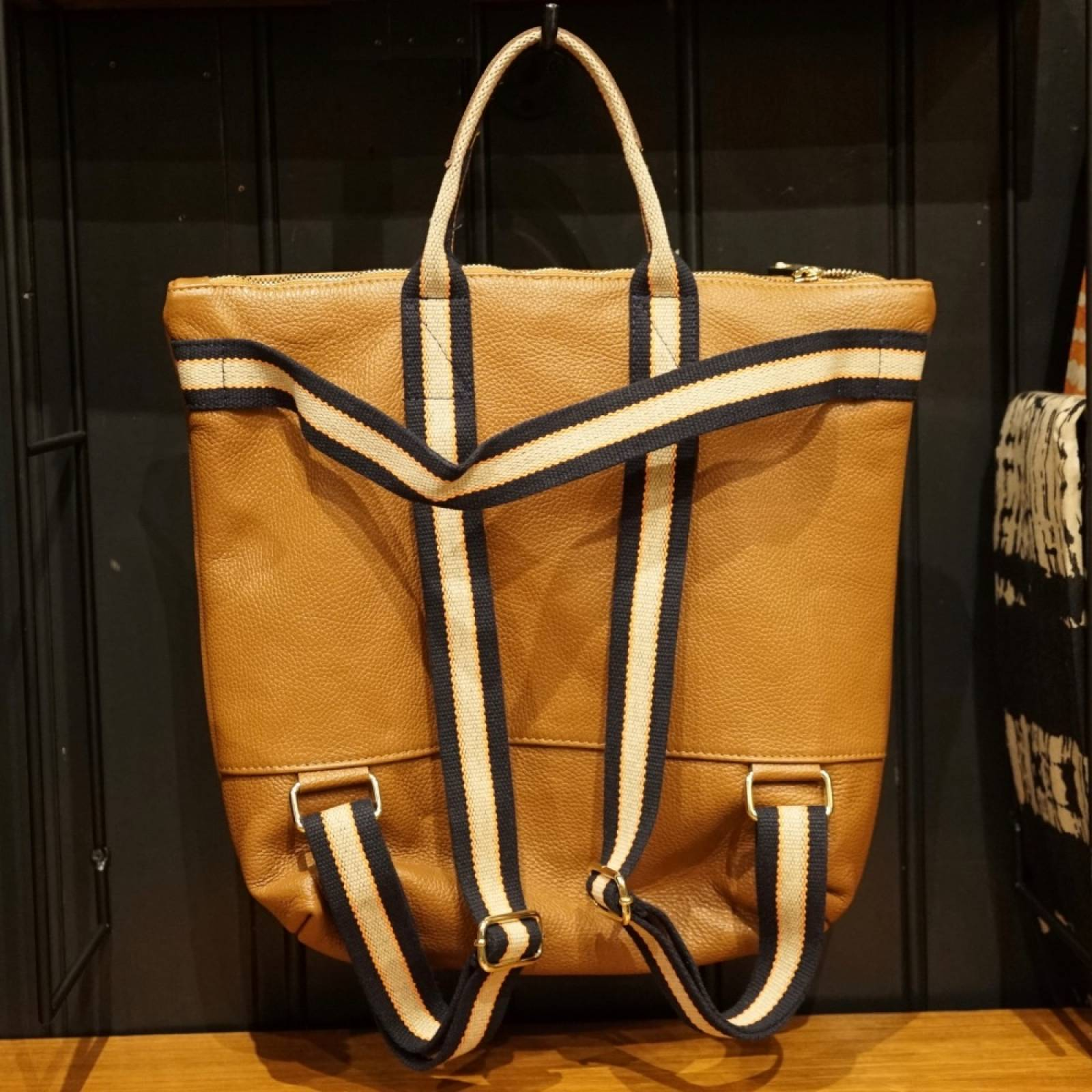 Leather Backpack With Canvas Straps And Handle In Dark Tan thumbnails