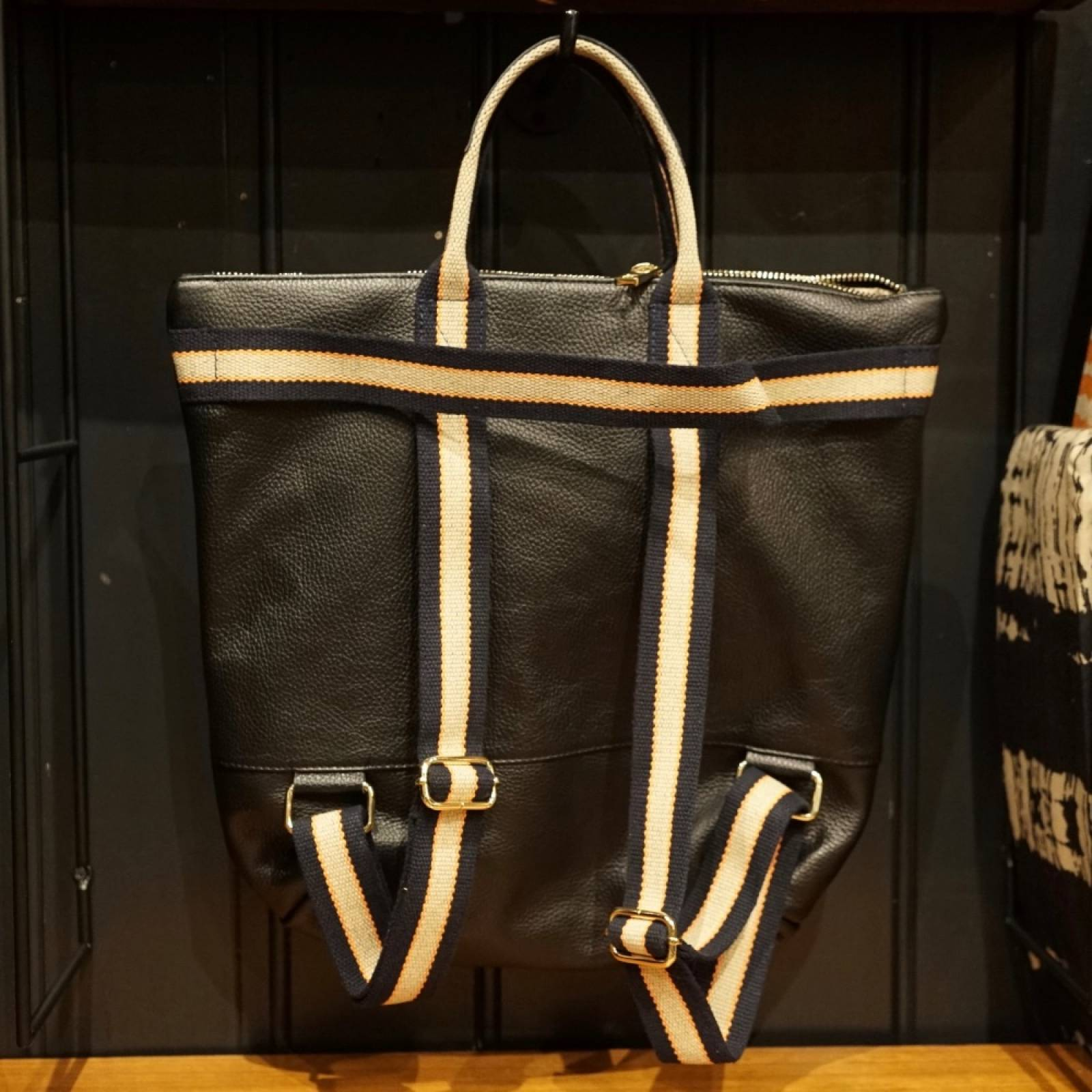 Leather Backpack With Canvas Straps And Handle In Black thumbnails