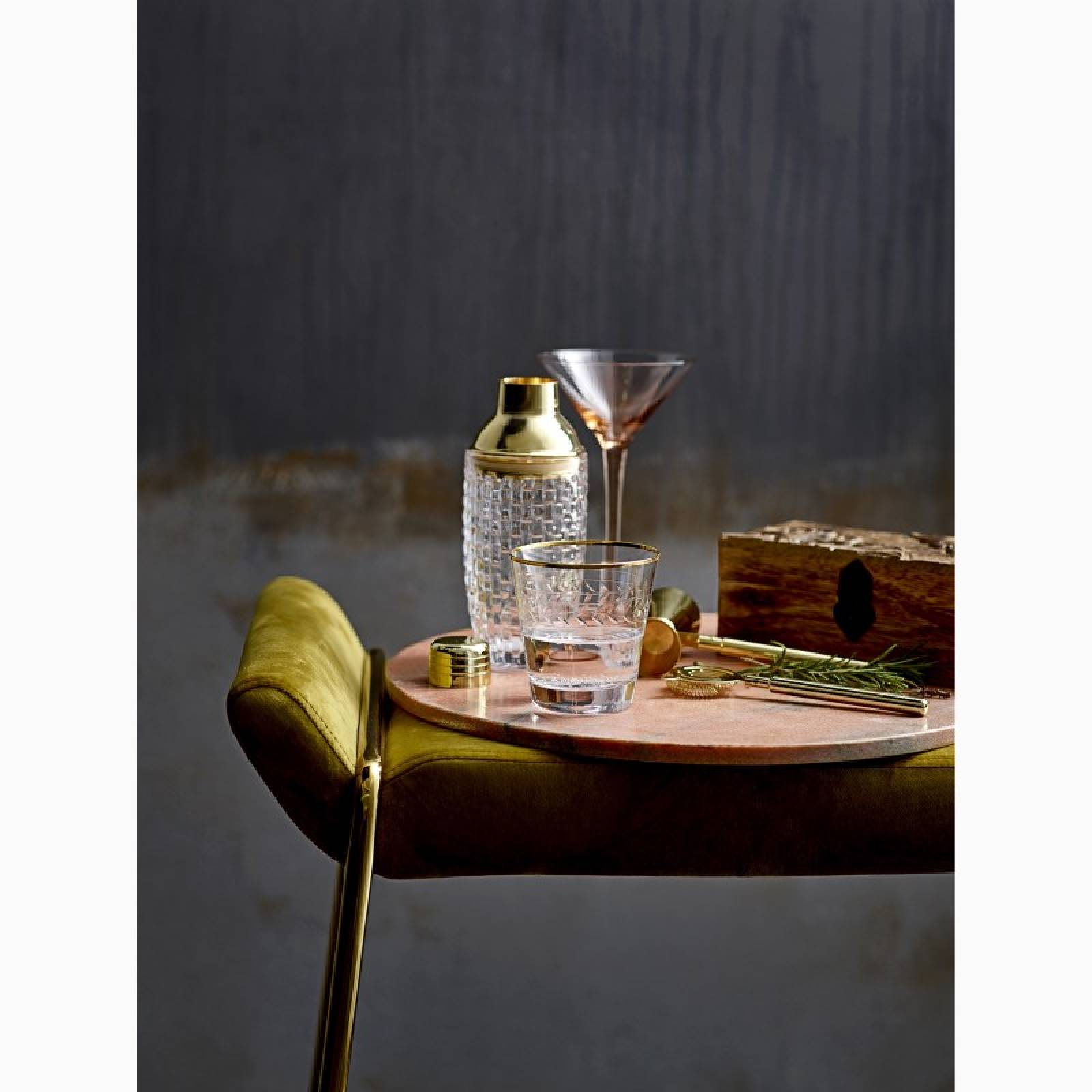 Deco Style Glass Cocktail Shaker With Gold Top 22cm thumbnails