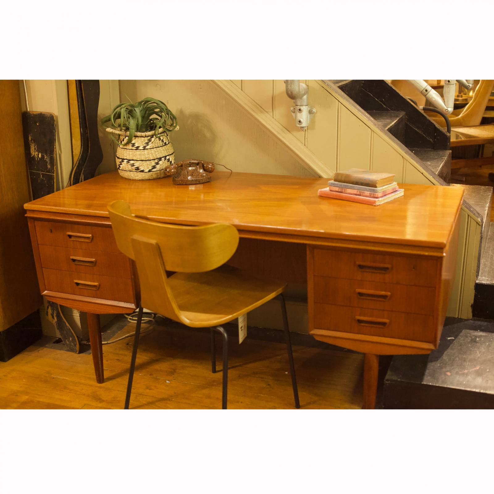 1960s Danish Double Sided Executive Teak Desk