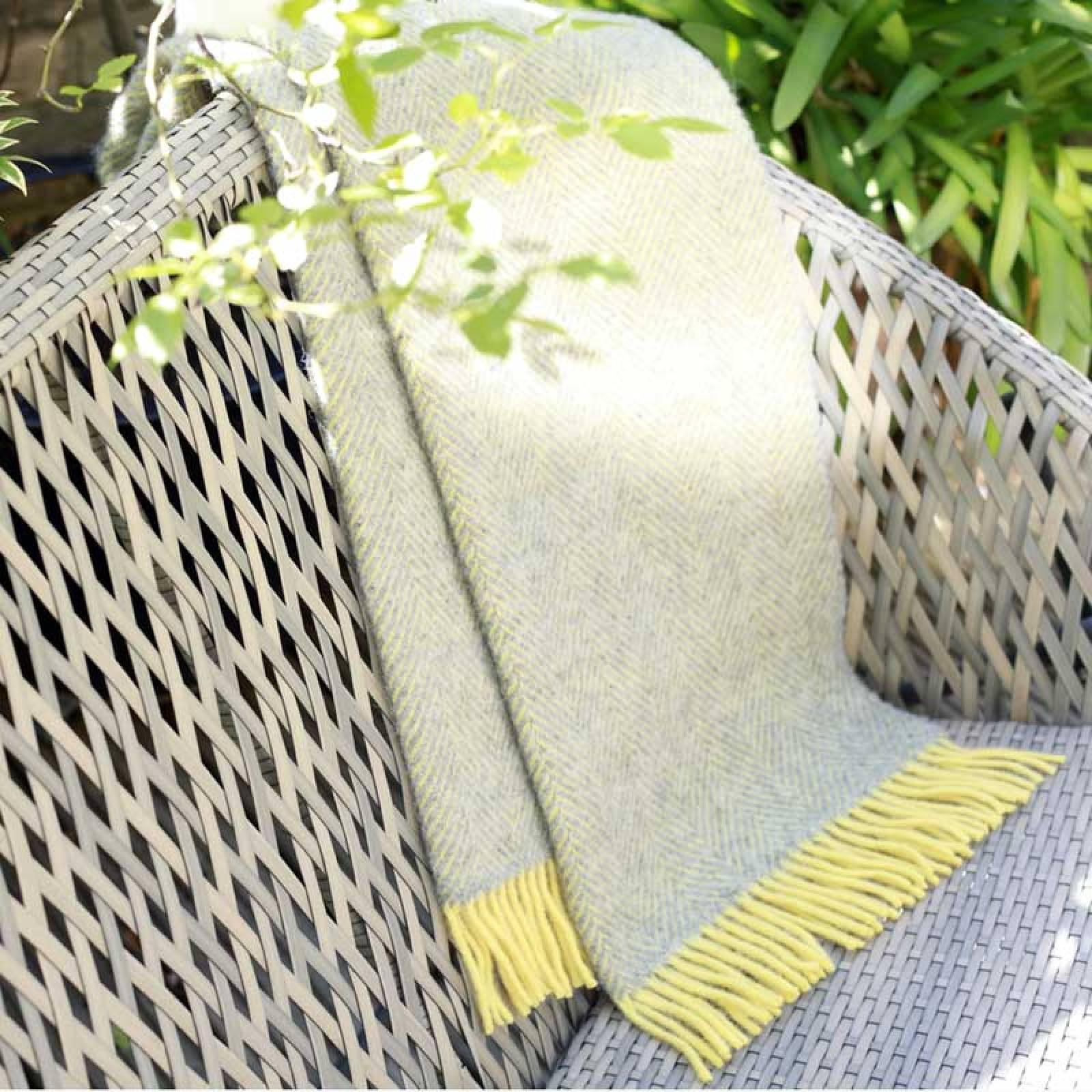 Silver Grey Lemon Herringbone KNEE Blanket 70x183cm thumbnails