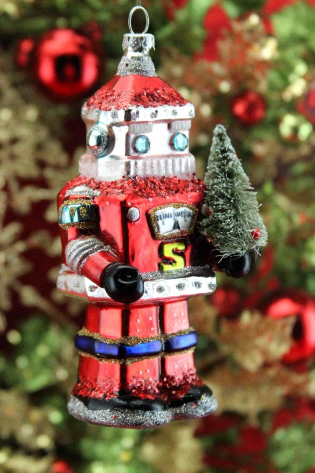Glass Santa Robot Christmas Decoration By Gisela Graham thumbnails