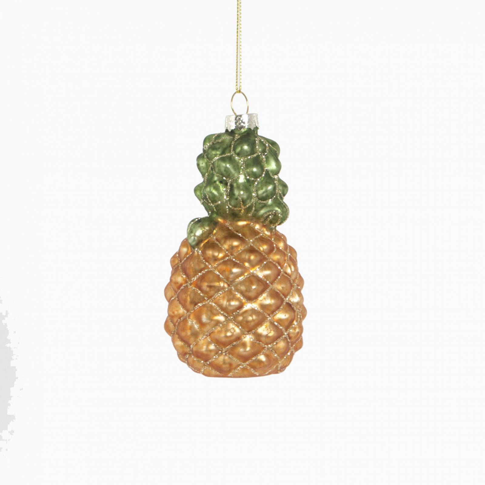 Glitzy Pineapple Bauble Glass Christmas Decoration
