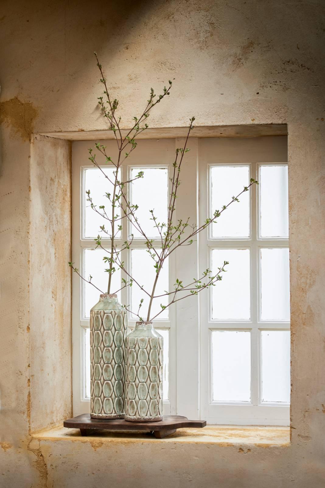 Grey Green Textured Tall Ceramic Decorative Vase thumbnails