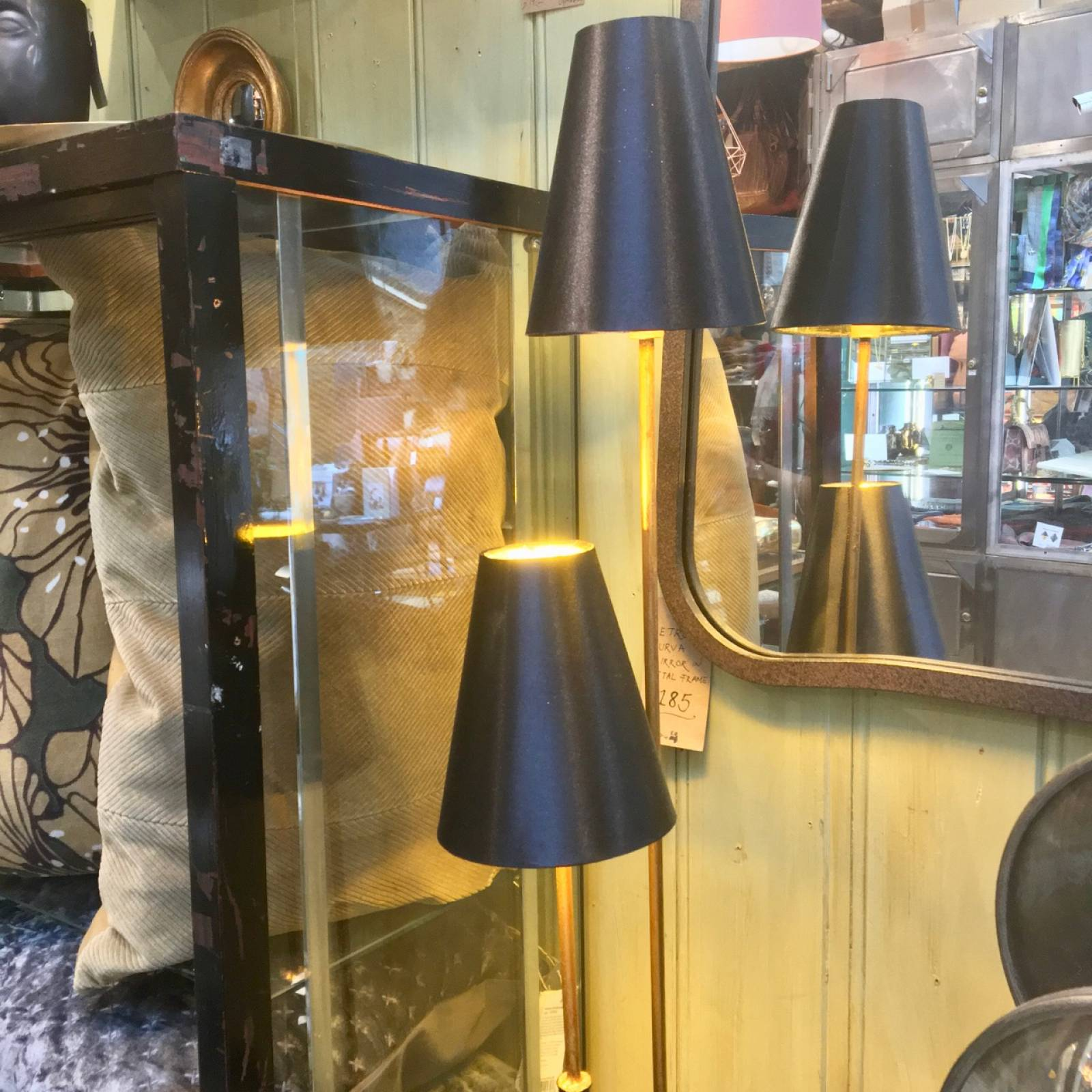 Double Stemmed Floor Lamp With Gold & Black Shades thumbnails