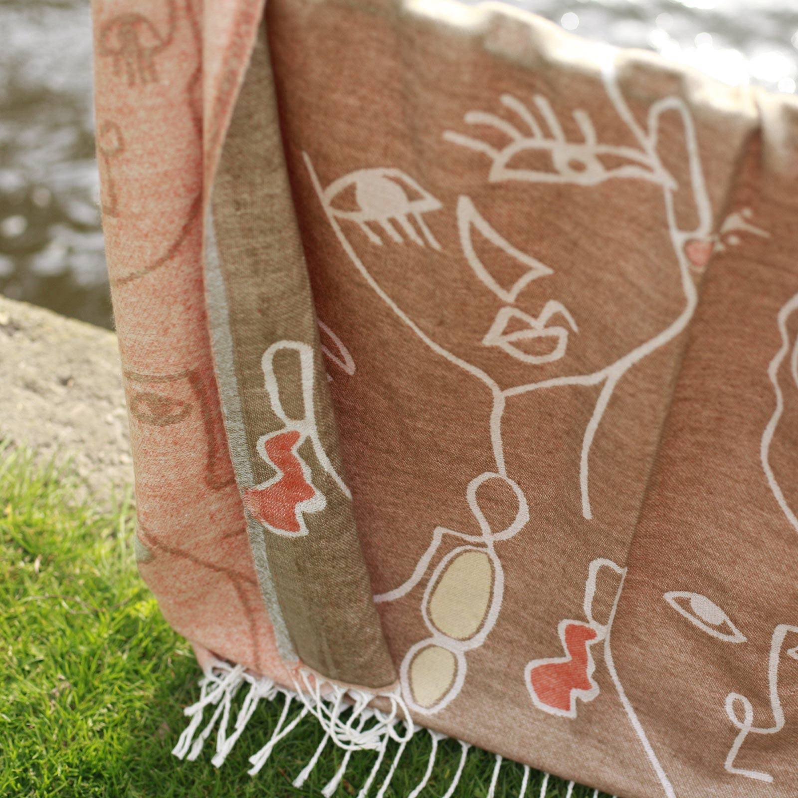 Olive Abstract Faces Throw Blanket thumbnails