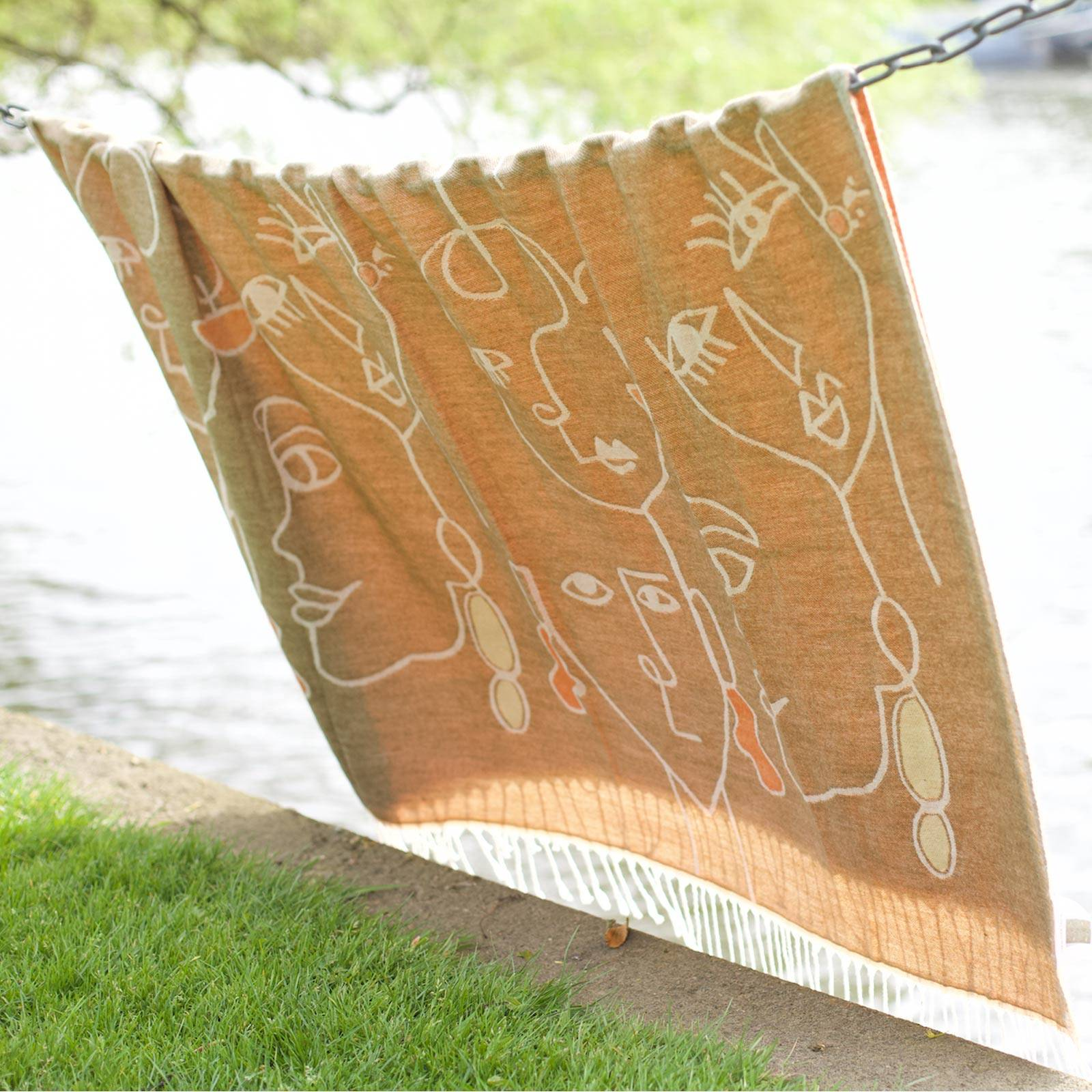 Olive Abstract Faces Throw Blanket