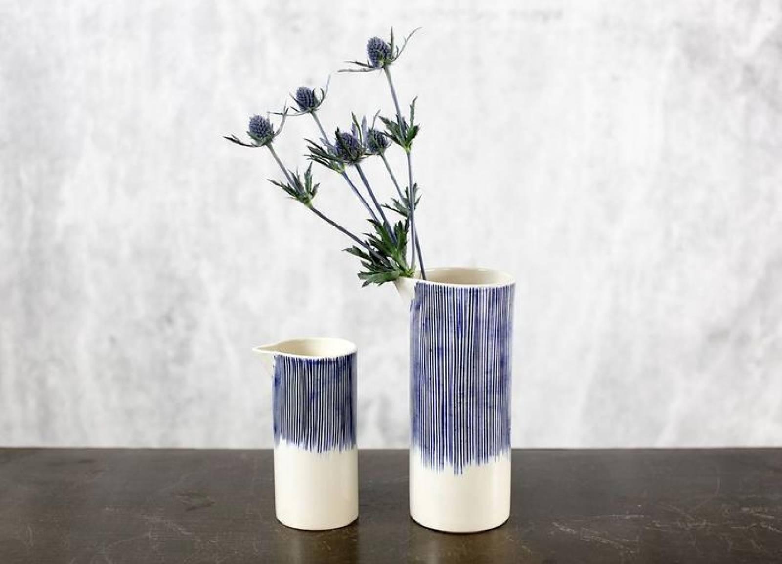 Karuma Ceramic Jug Blue & White 8.5cm x 21.5cm thumbnails