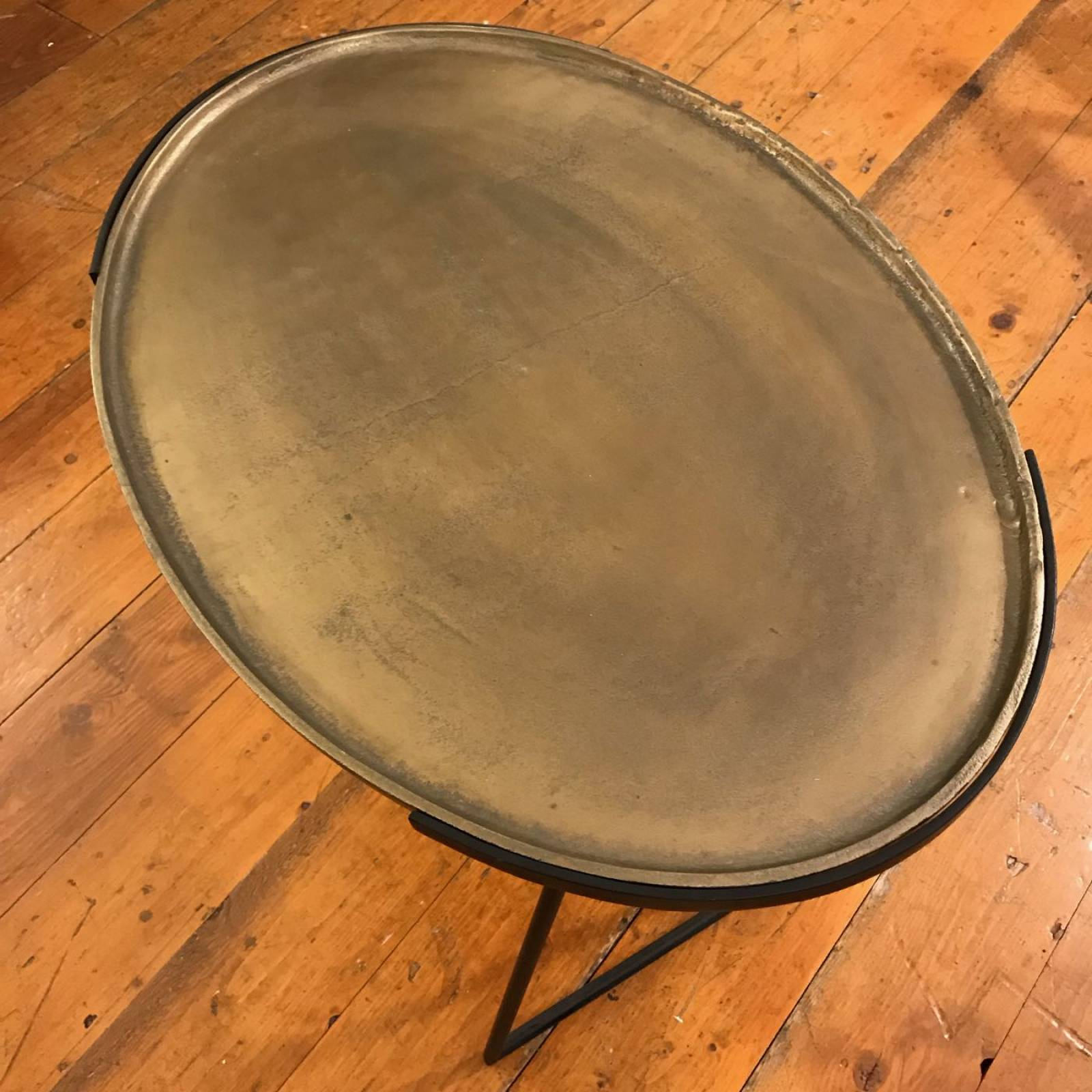 Large Oval Side Table In Antique Bronze thumbnails