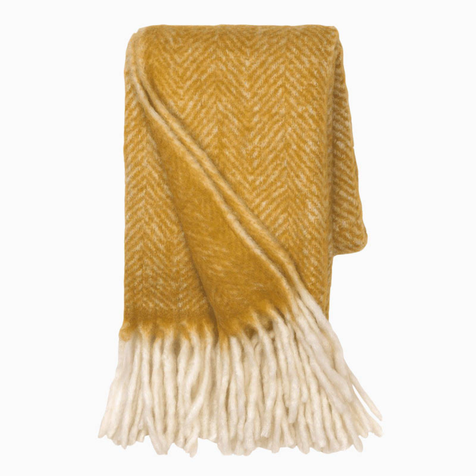 Large Mathea Blanket Throw In Curry Yellow thumbnails