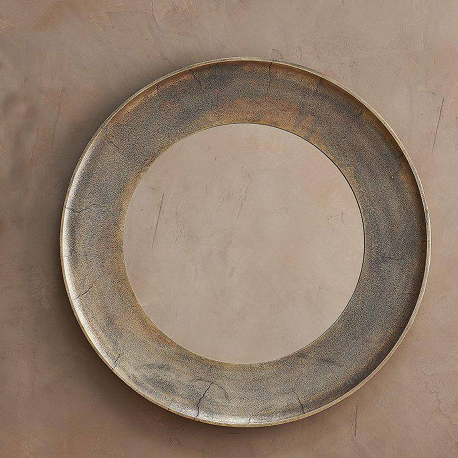 Large Circular Yakira Mirror In Antique Brass Finish