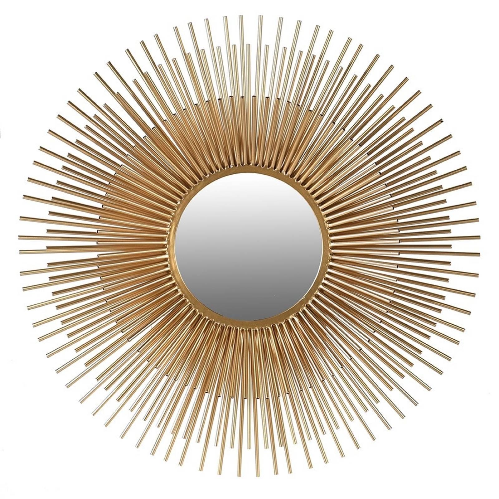 Layered Metal Tubular Sunburst Mirror In Gold