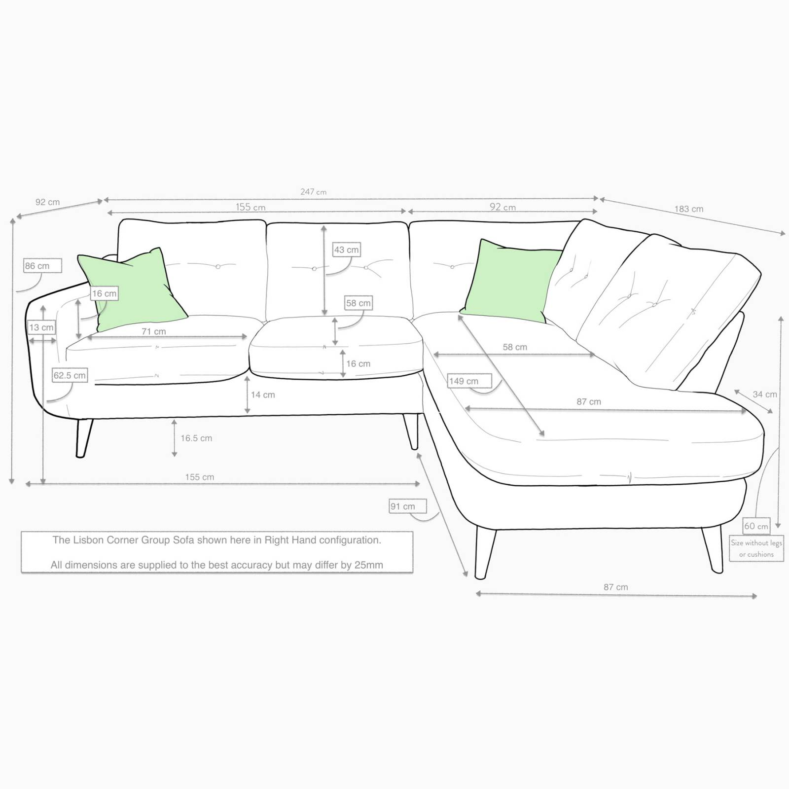 Lisbon Right Hand Corner Sofa By Whitemeadow - Fabric Grade A thumbnails