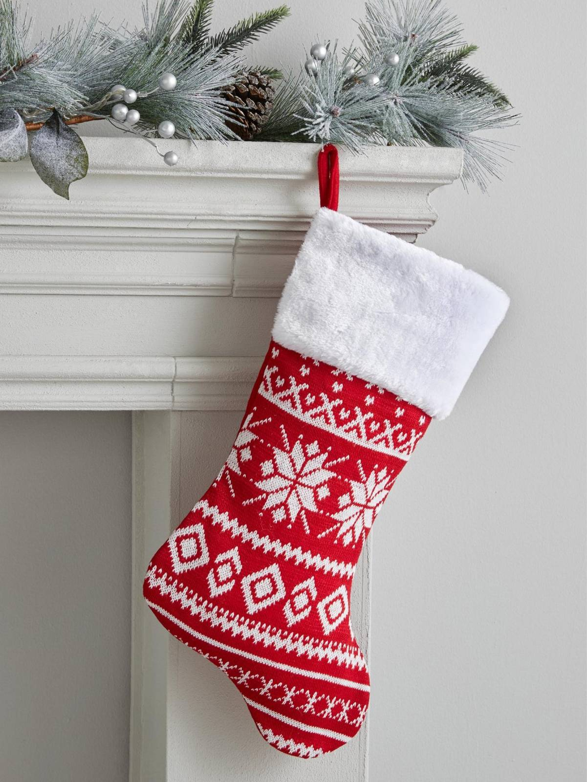 Red & White Nordic Christmas Stocking By Gisela Graham thumbnails