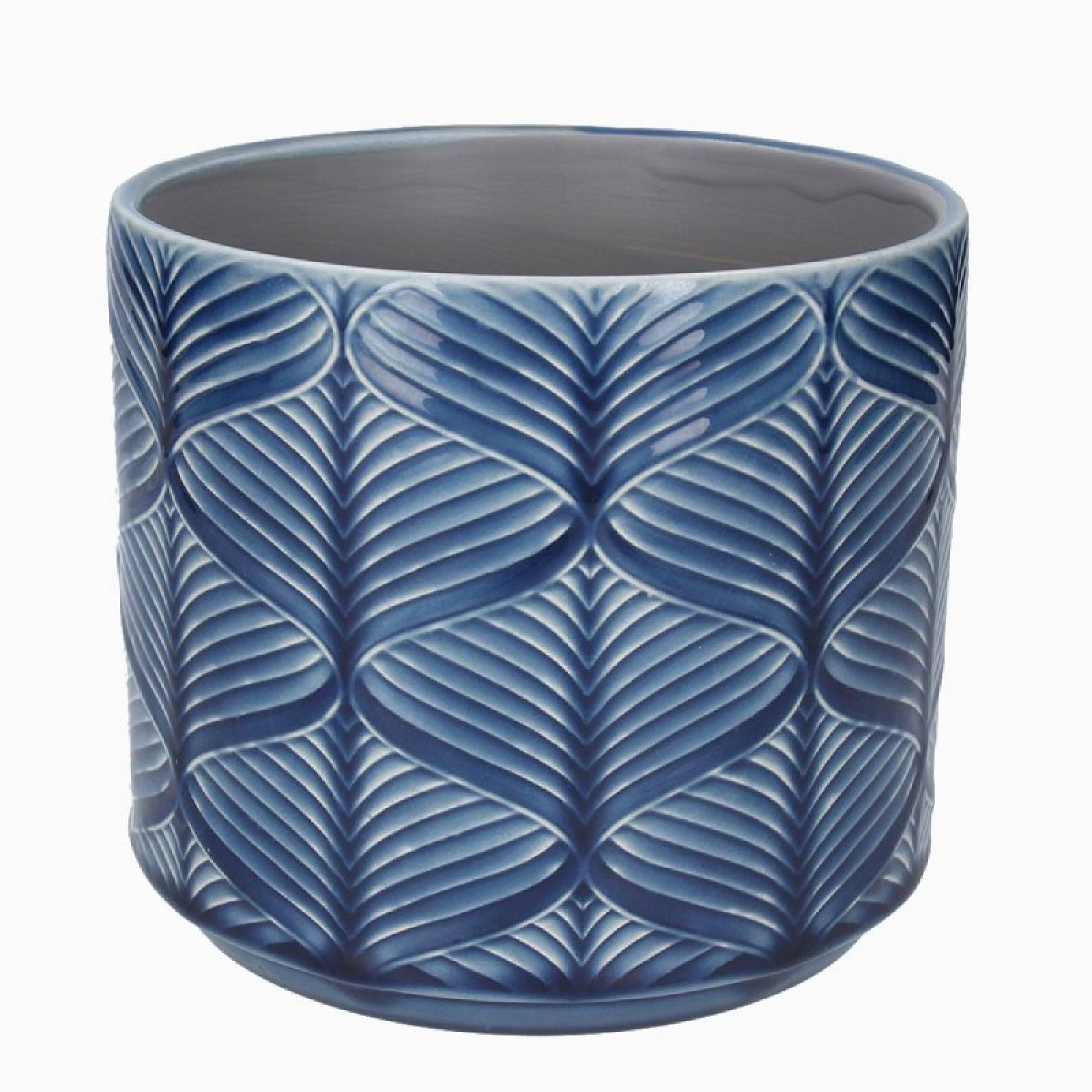 Medium Wavy Ceramic Flower Pot Cover In Navy