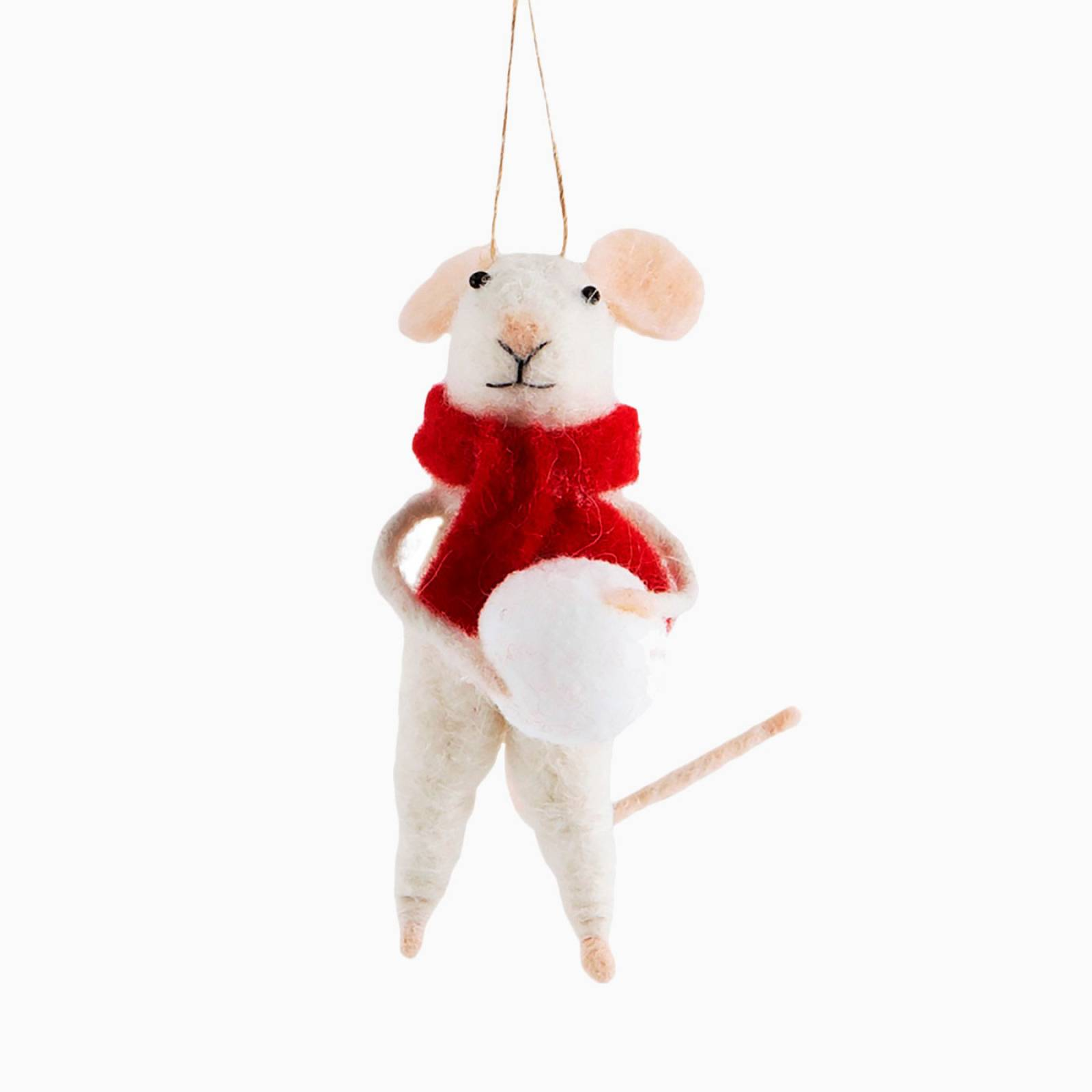 Mouse With Scarf And Snowball Felt Christmas Decoration