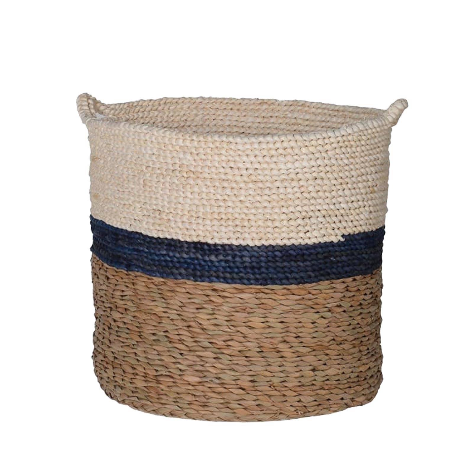 Navy, White & Brown Stripe Straw Basket With Handles