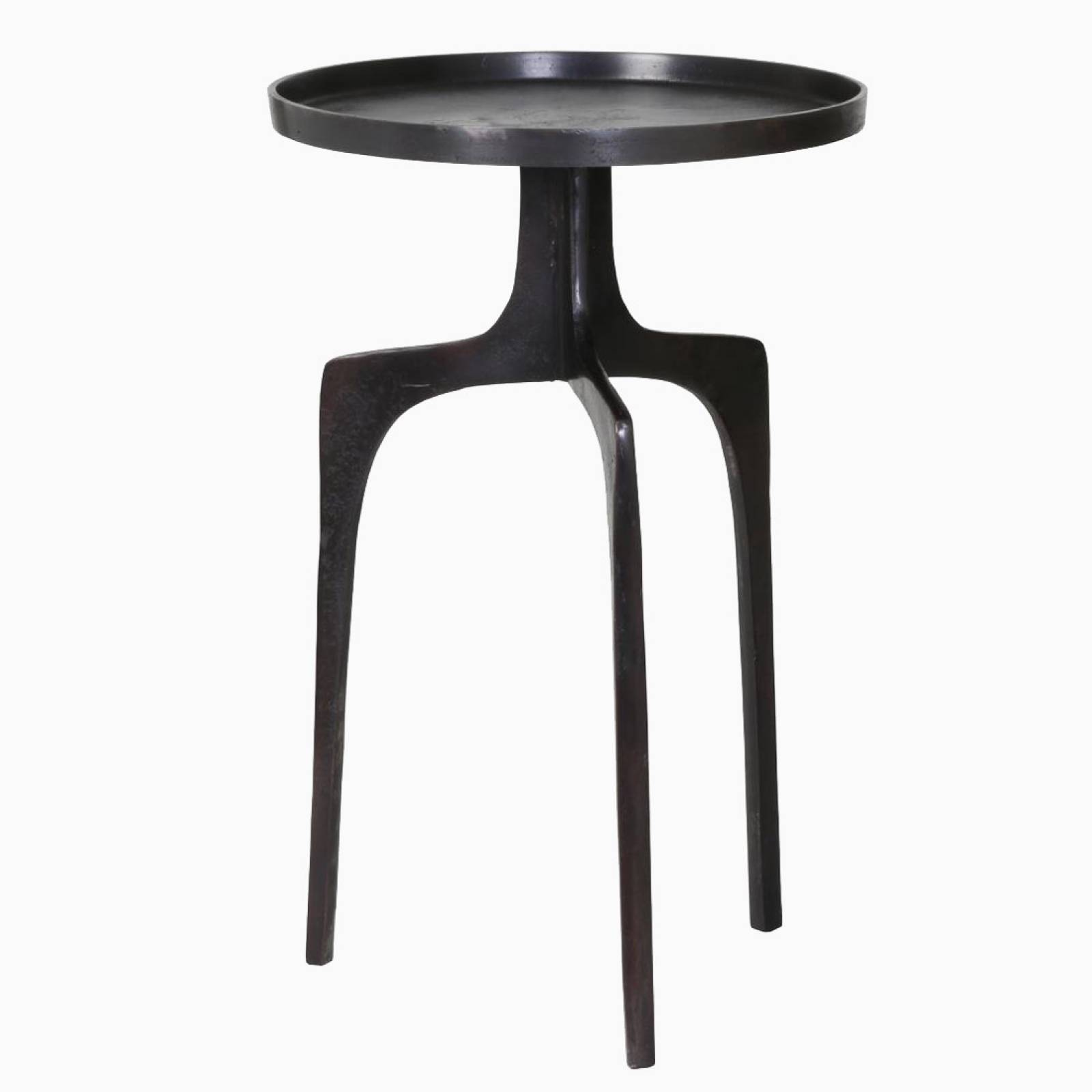 Neila Side Table In Black Bronze Metal 41x63cm