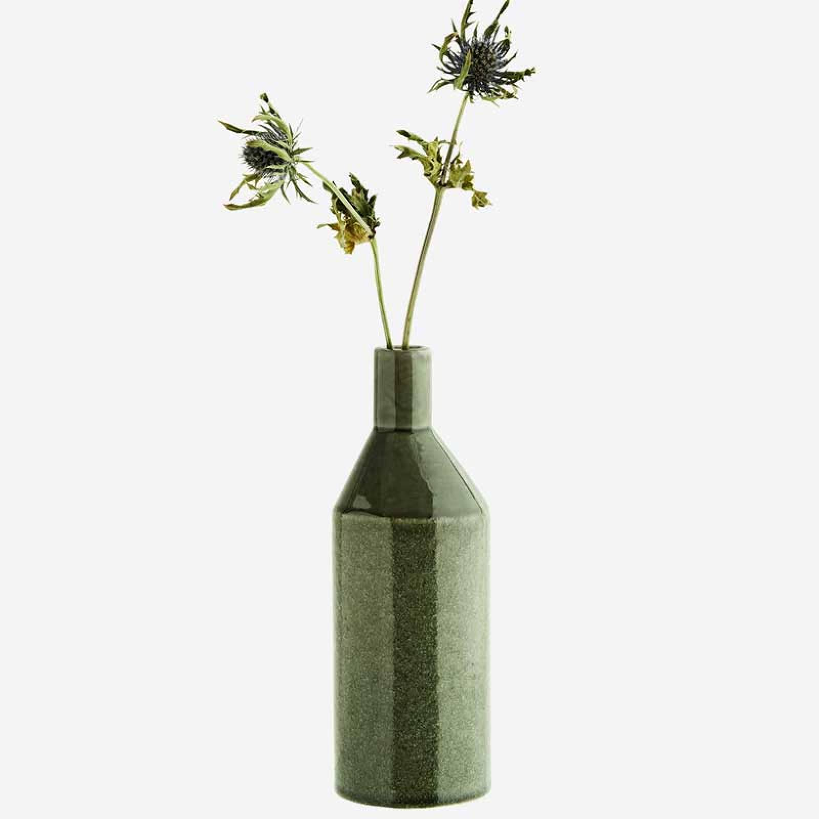 Petrol Green Slim Glazed Vase 20cm