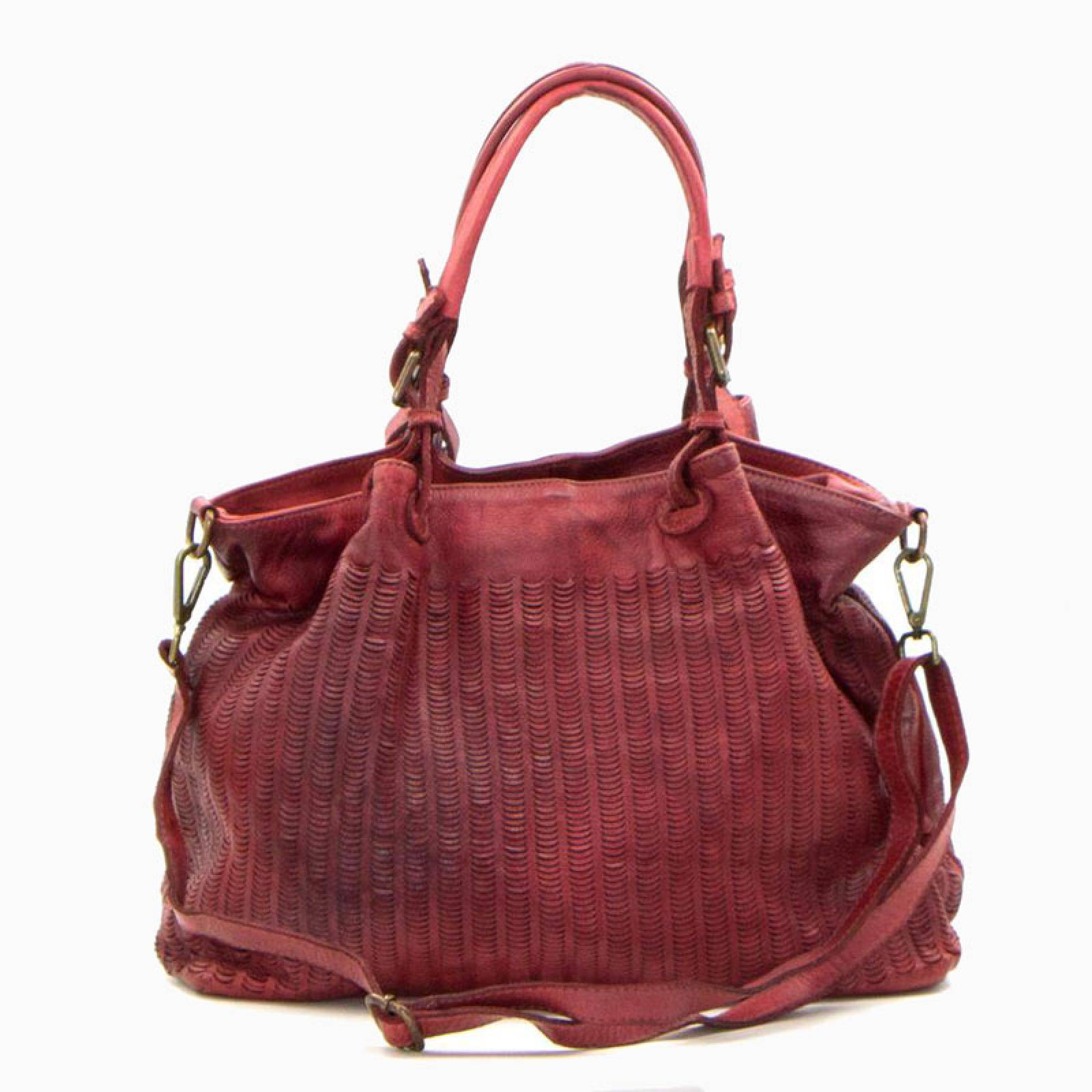 Punched Leather Handbag With Long Strap - Red