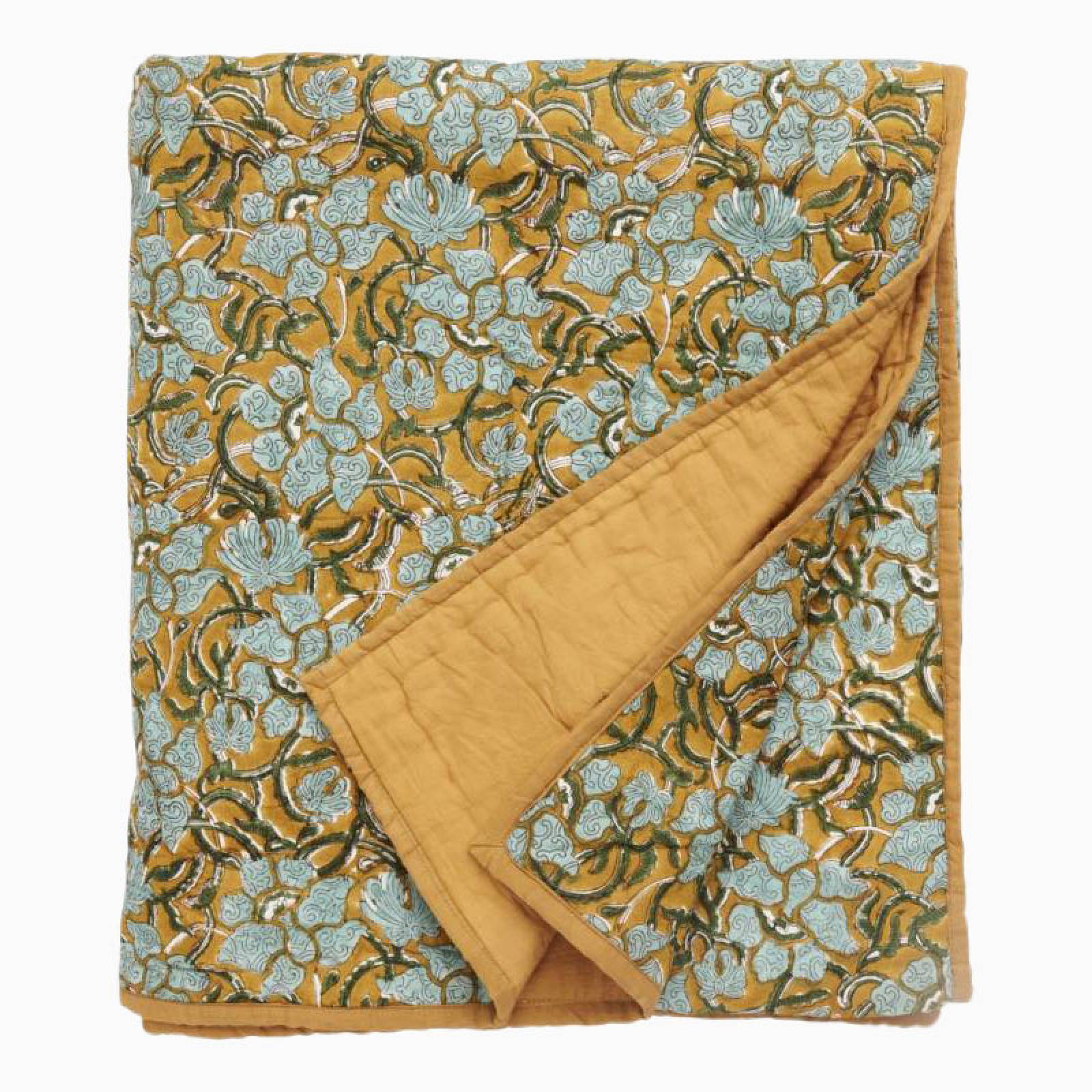 Quilt With Flowers With Mustard Back