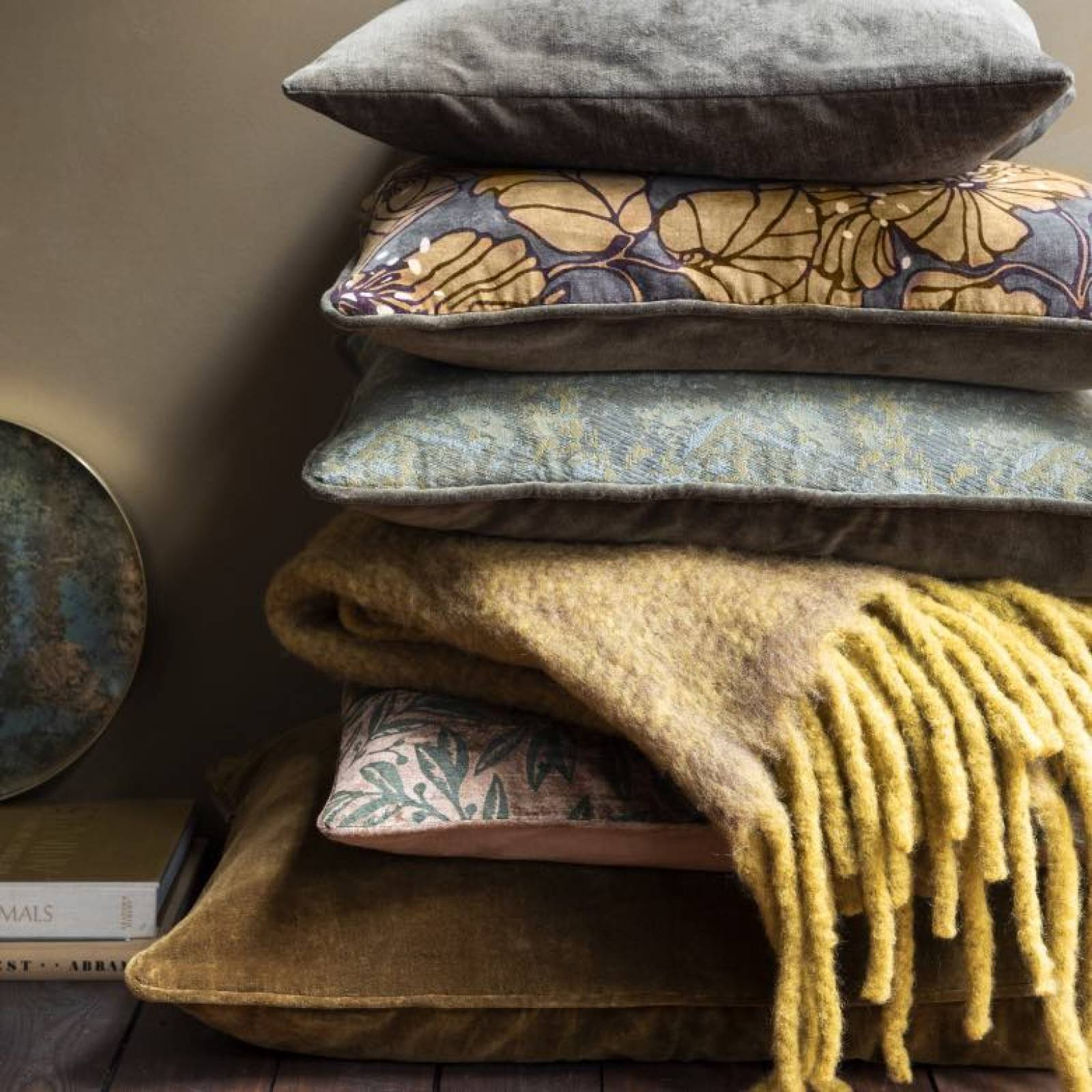 Square Cille Velvet Printed Cushion In Mustard thumbnails