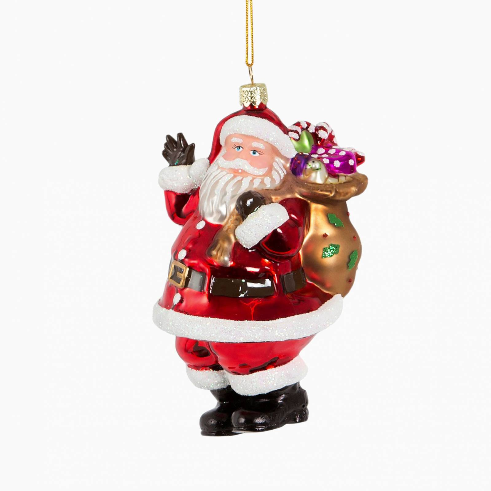 Santa With Sack Of Presents Glass Christmas Decoration