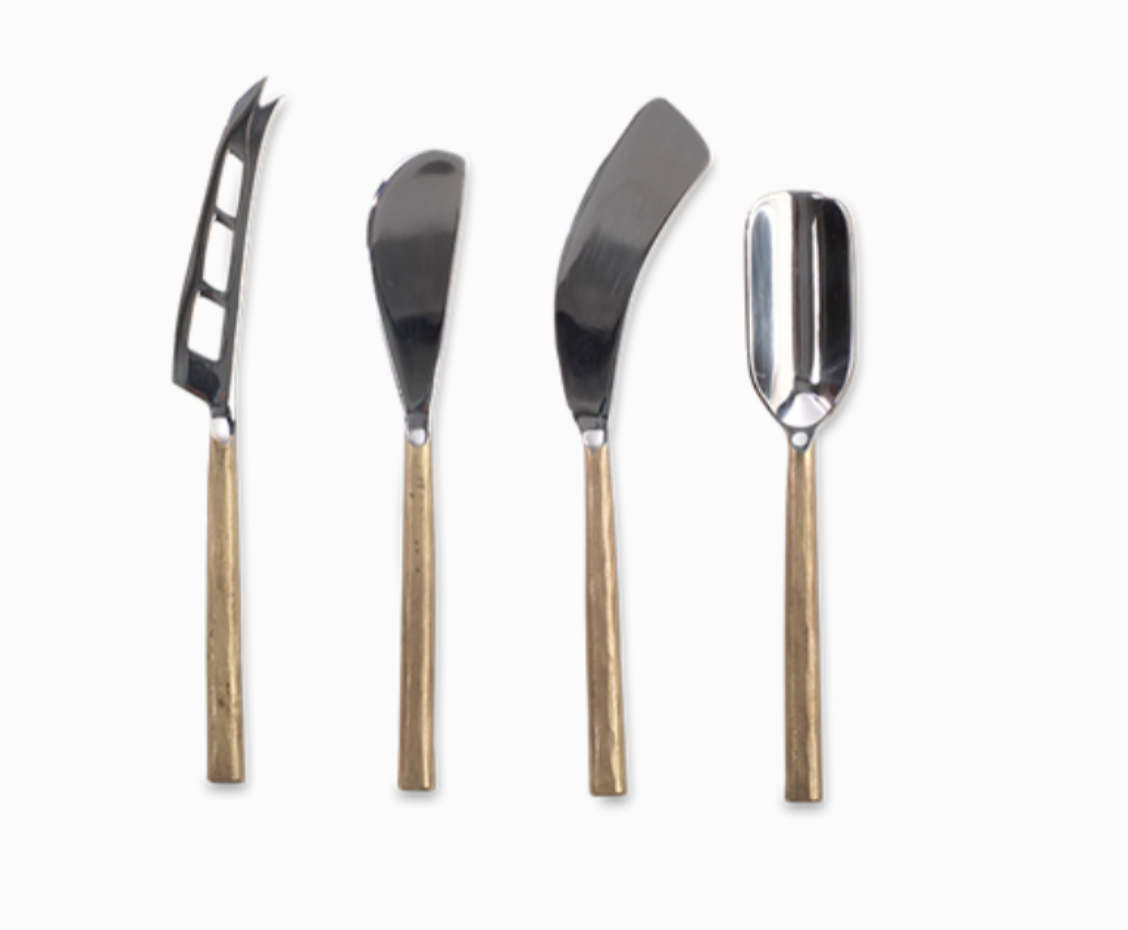 Set Of 4 Cheese Knife Set In Brushed Gold