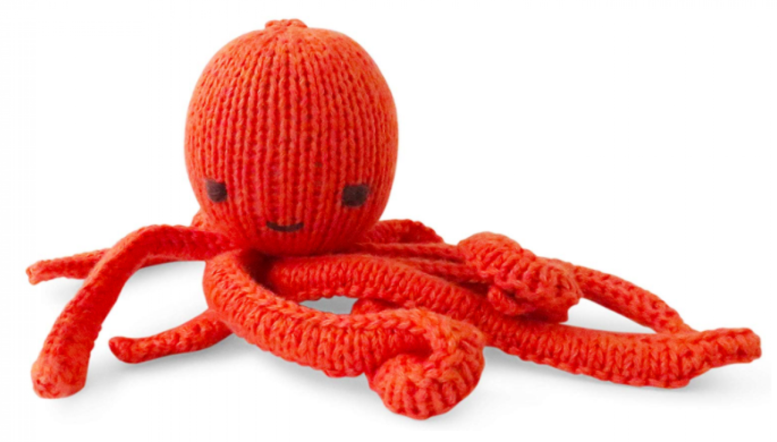 Orange Octopus Hand Knitted Soft Toy Organic Cotton