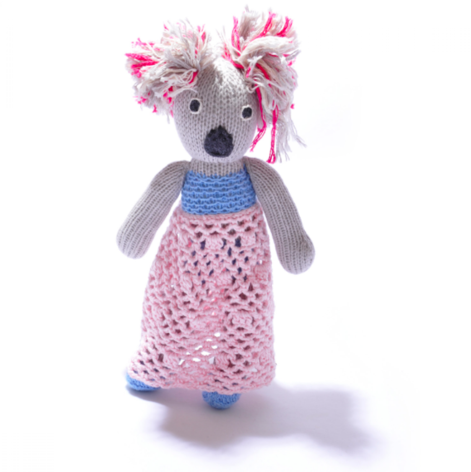Girl Koala With Dress Hand Knitted Soft Toy Organic Cotton