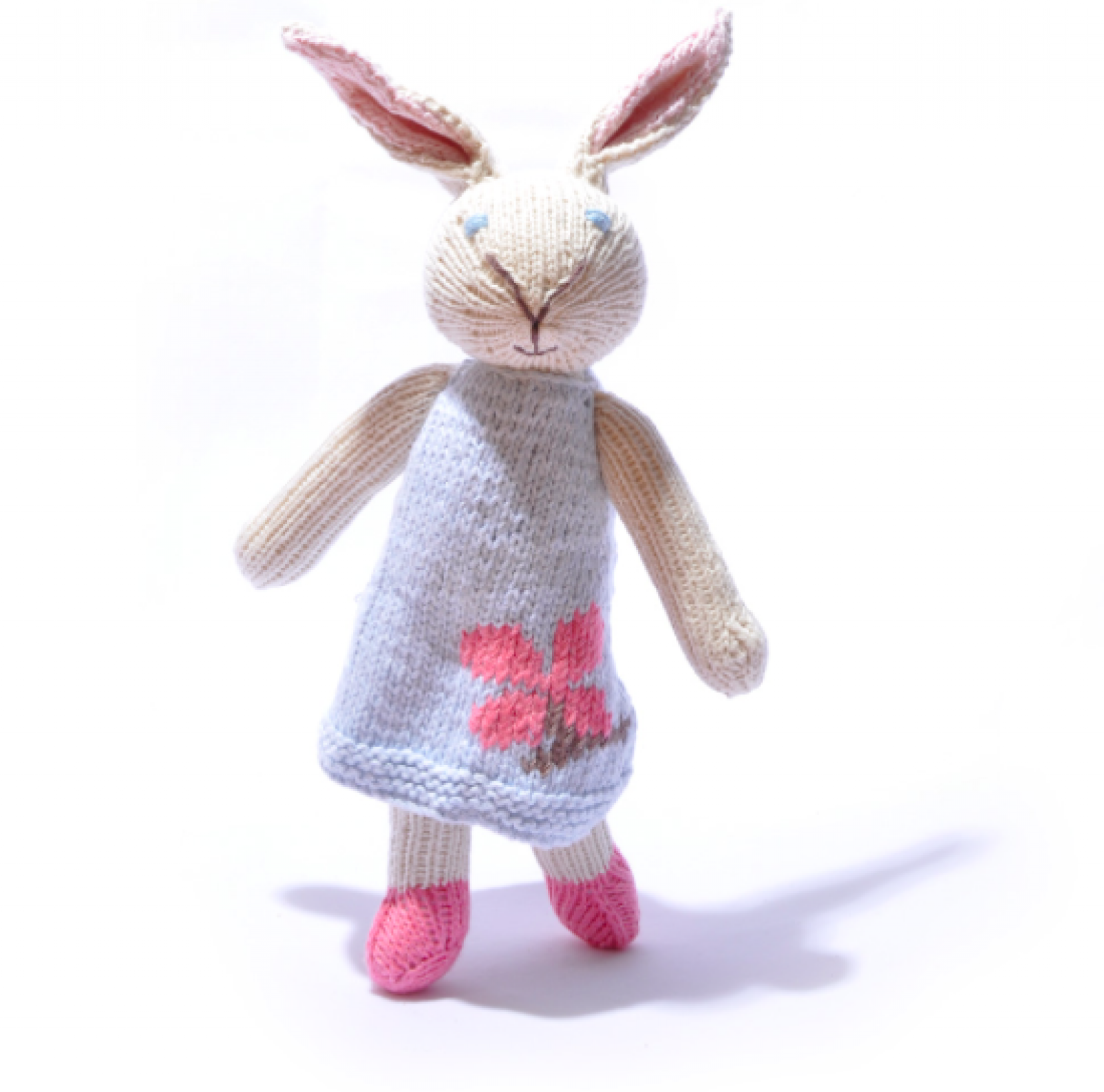Rabbit In Blue Dress Hand Knitted Soft Toy Organic Cotton