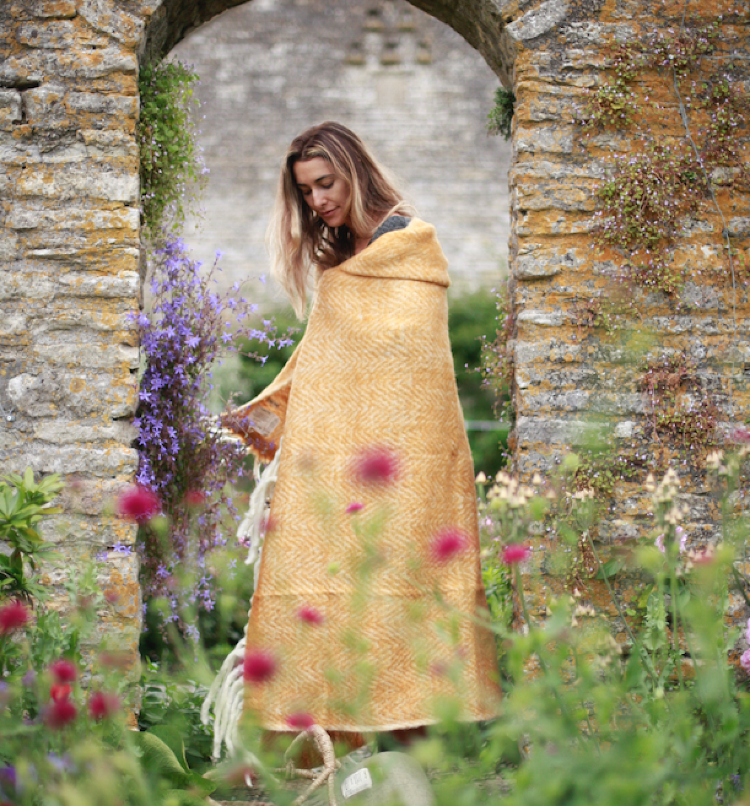 Large Mathea Blanket Throw In Curry Yellow