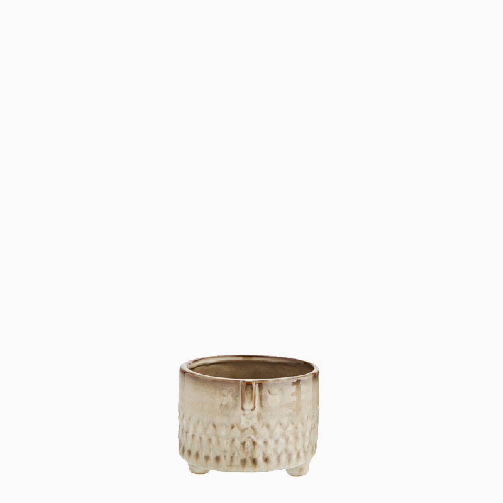 Short Beige Stoneware Face Flowerpot 9.5cm