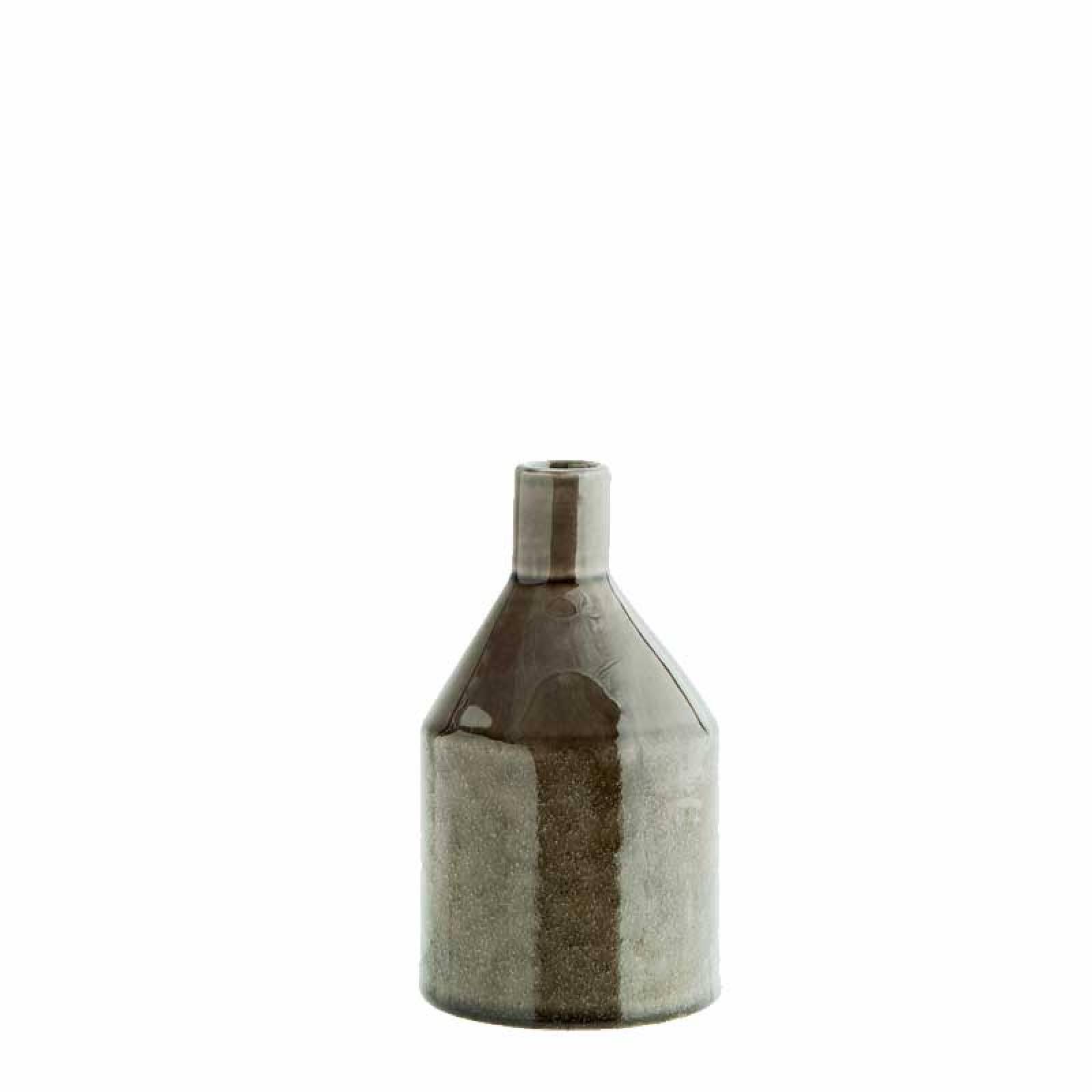 Short Grey Stoneware Glazed Vase 15cm