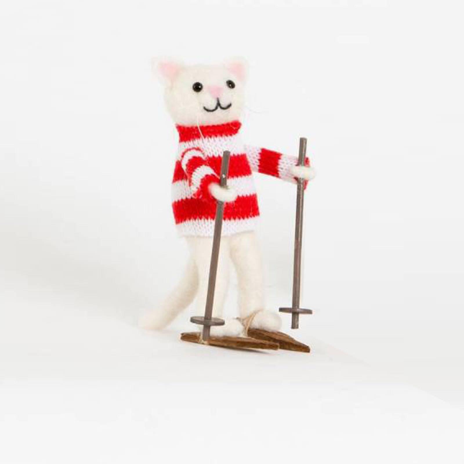 Snow Cat Felt Christmas Decoration Skiing or Sledging thumbnails